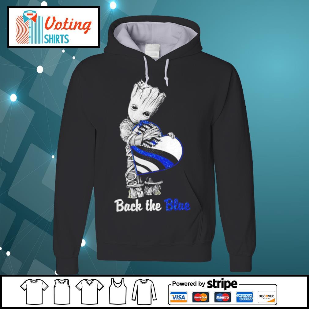 Back the blue Baby Groot s hoodie