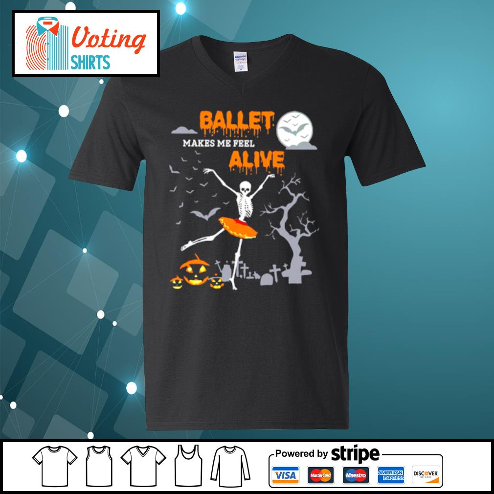 Ballet makes me feel alive halloween s v-neck-t-shirt