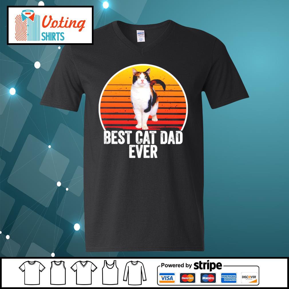 Best cat dad ever vintage s v-neck-t-shirt