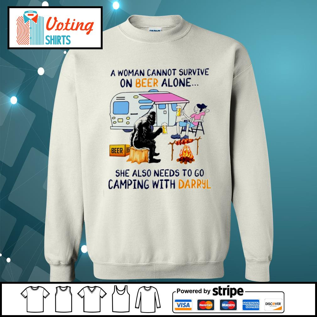 Bigfoot a woman cannot survive on beer alone she also needs to go camping with Darryl s sweater