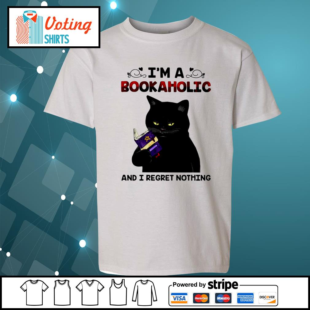 Black cat I'm a bookaholic and I regret nothing s youth-tee