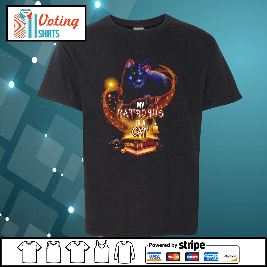 Black cat witch my patronus is a cat halloween s youth-tee