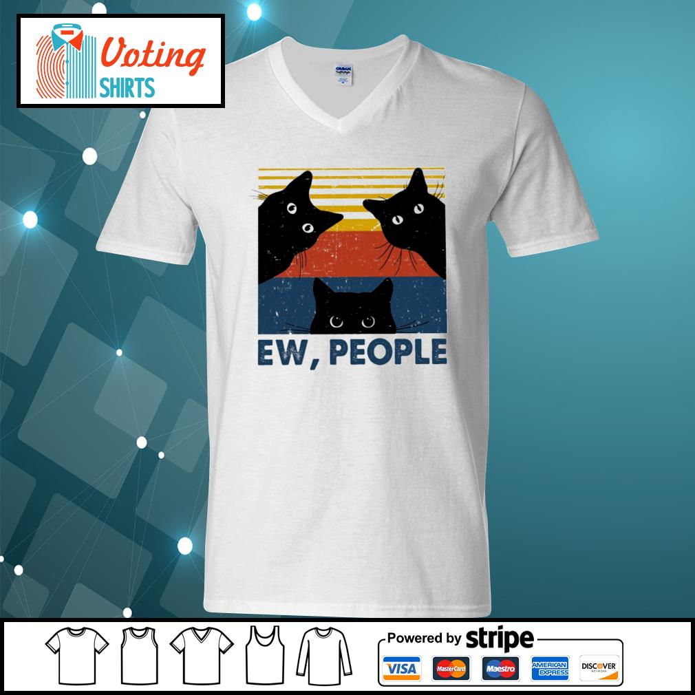 Black cats ew people vintage s v-neck-t-shirt