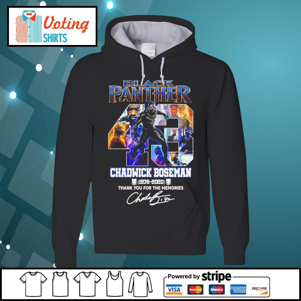 Black Panther 43 Chadwick Boseman 1976 2020 thank you for the memories s hoodie