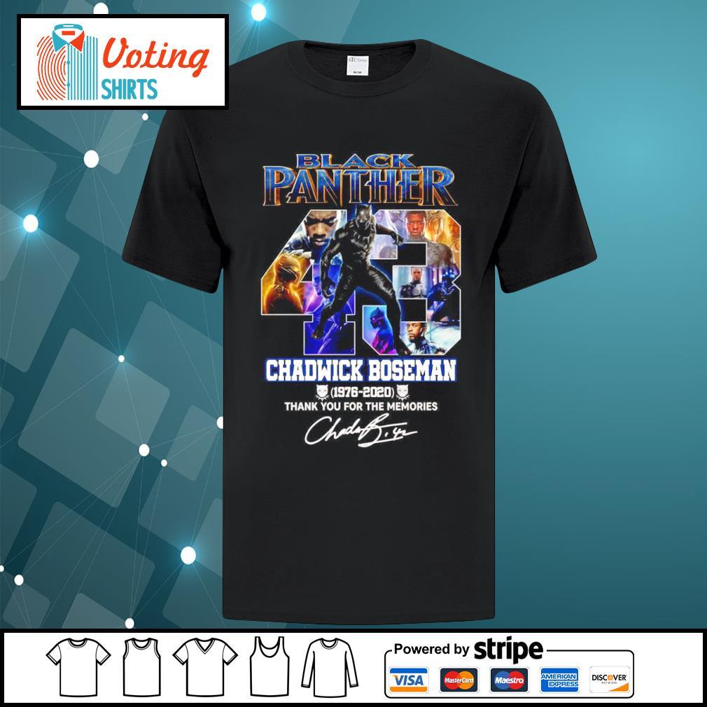 Black Panther 43 Chadwick Boseman 1976 2020 thank you for the memories shirt