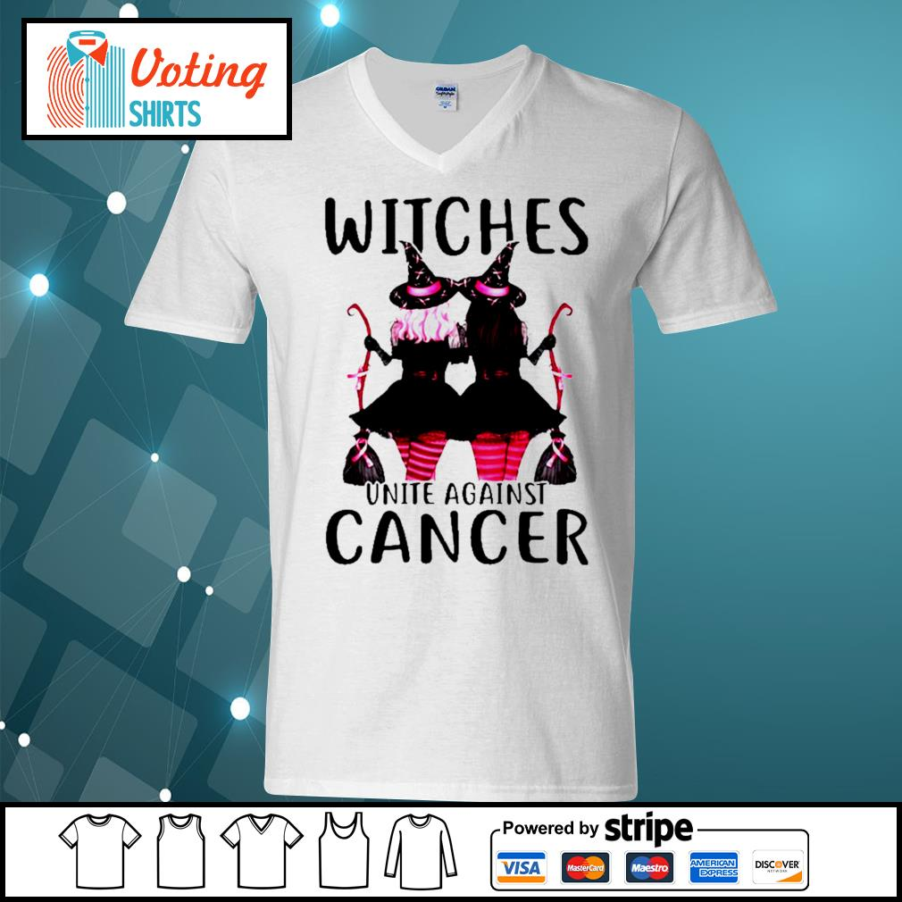 Breast Cancer Witches unite against cancer s v-neck-t-shirt