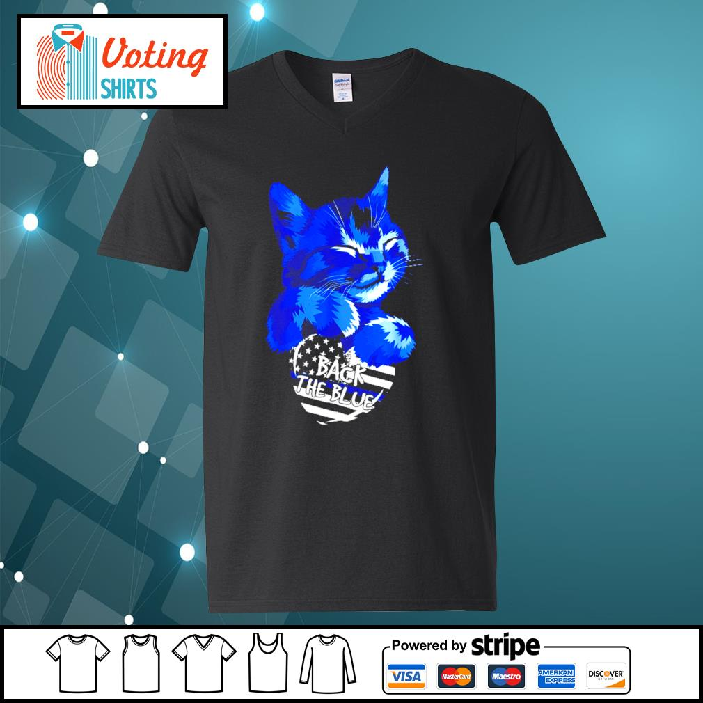 Cat Back The Blue s v-neck-t-shirt