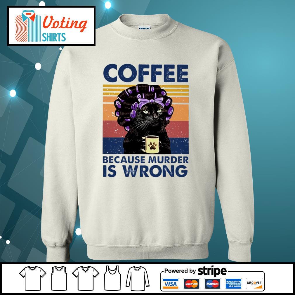 Cat grandma coffee because murder is wrong vintage s sweater