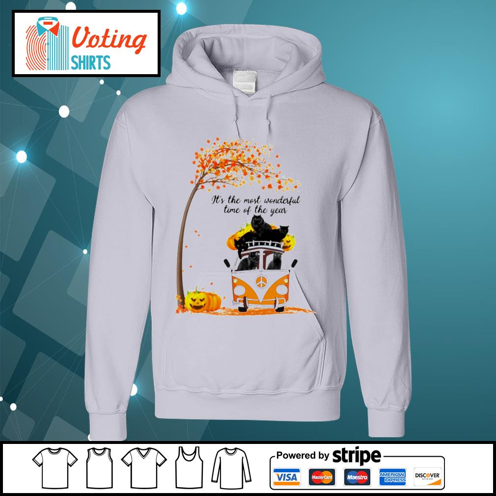 Cats black hippie car It's the most wonderful time of the year hoodie