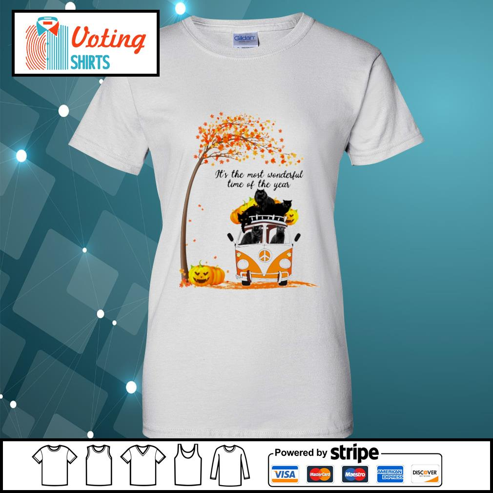 Cats black hippie car It's the most wonderful time of the year ladies-tee