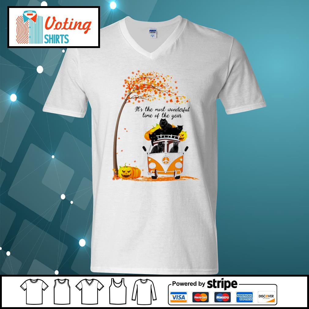 Cats black hippie car It's the most wonderful time of the year v-neck-t-shirt