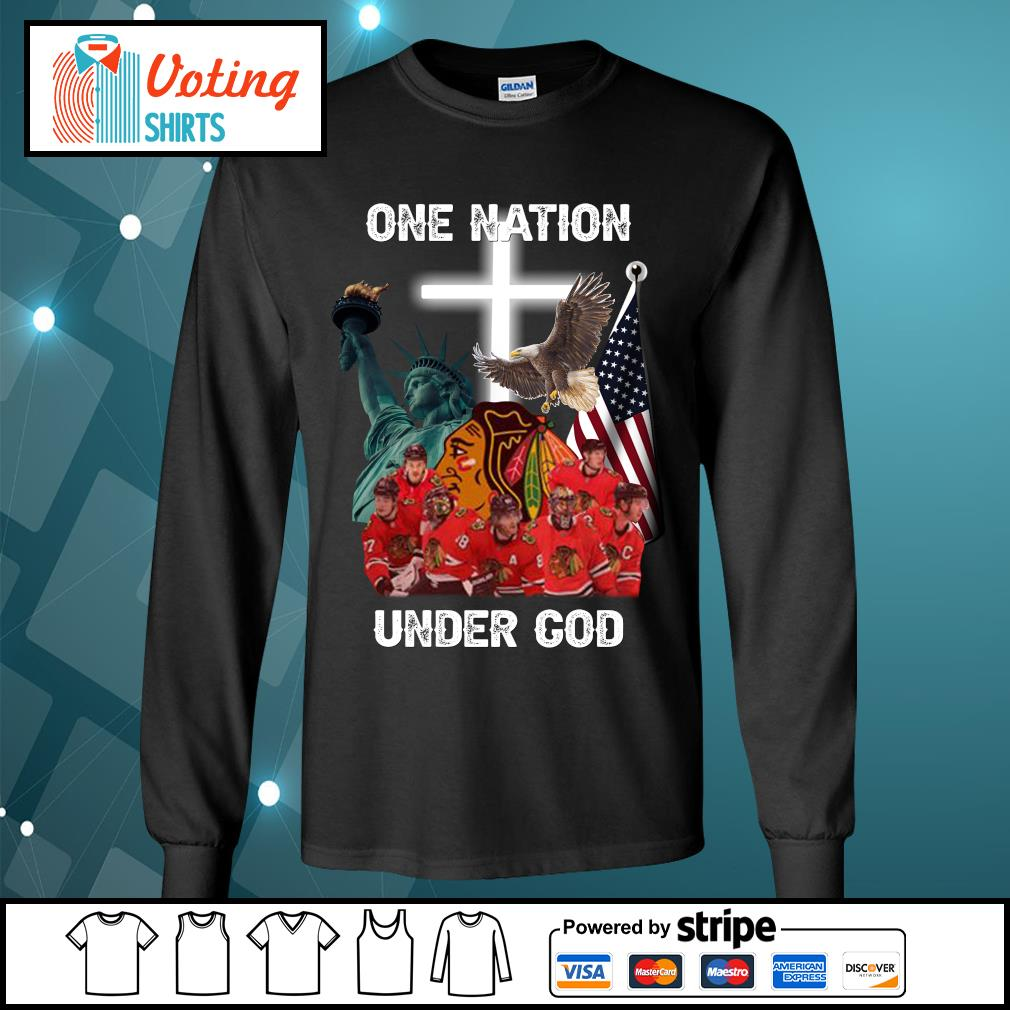 Chicago Blackhawks one nation under God s longsleeve-tee