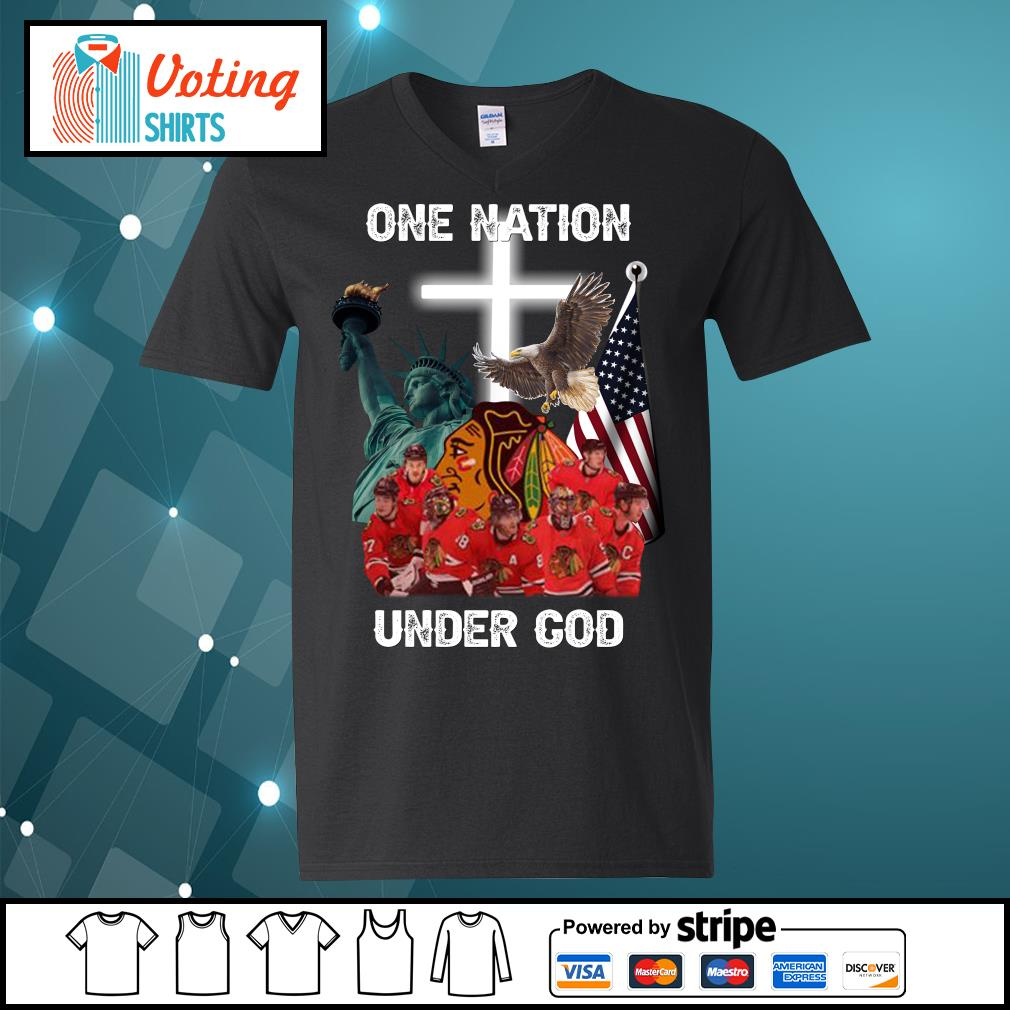 Chicago Blackhawks one nation under God s v-neck-t-shirt