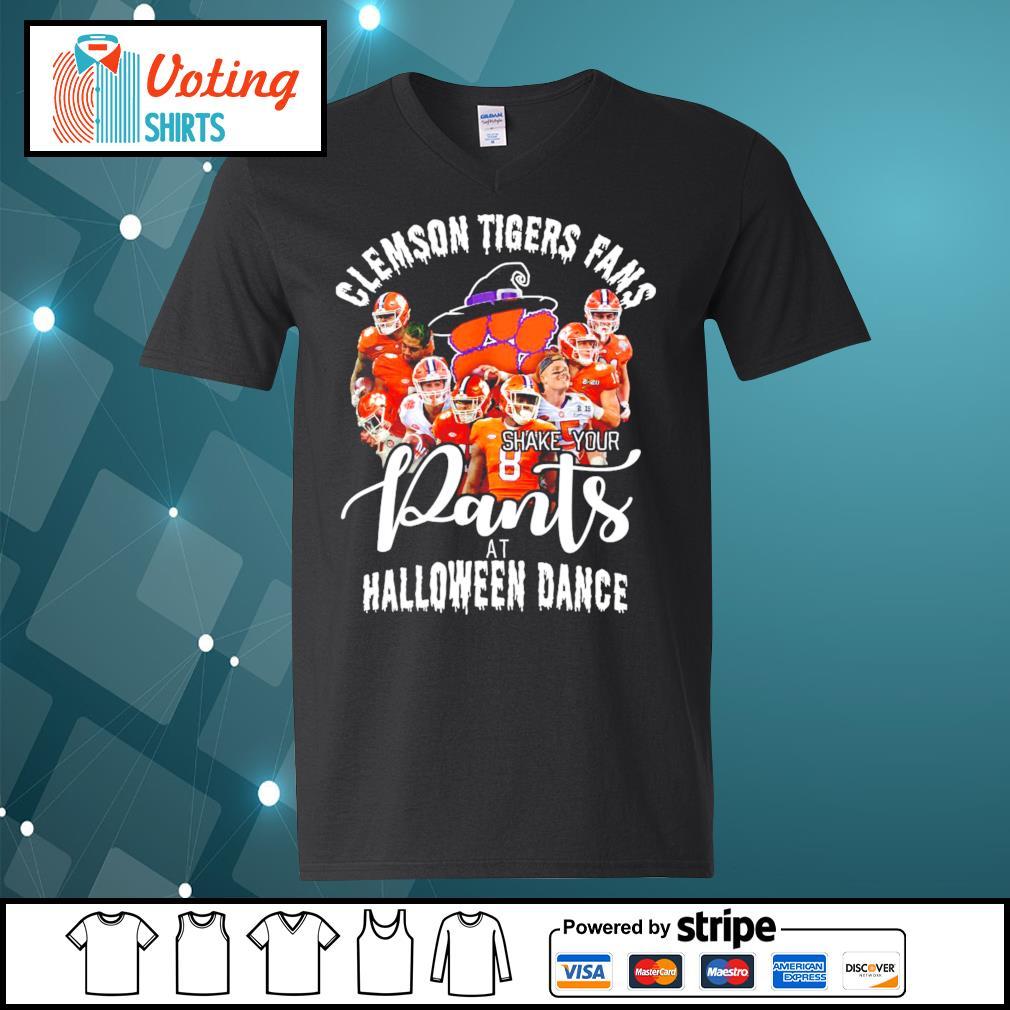 Clemson Tigers fans shake your pants at Halloween dance s v-neck-t-shirt