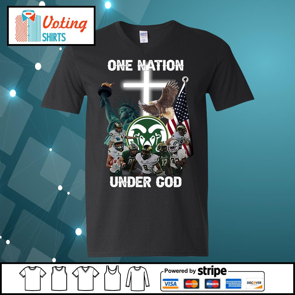 Colorado State Rams one nation under god s v-neck-t-shirt