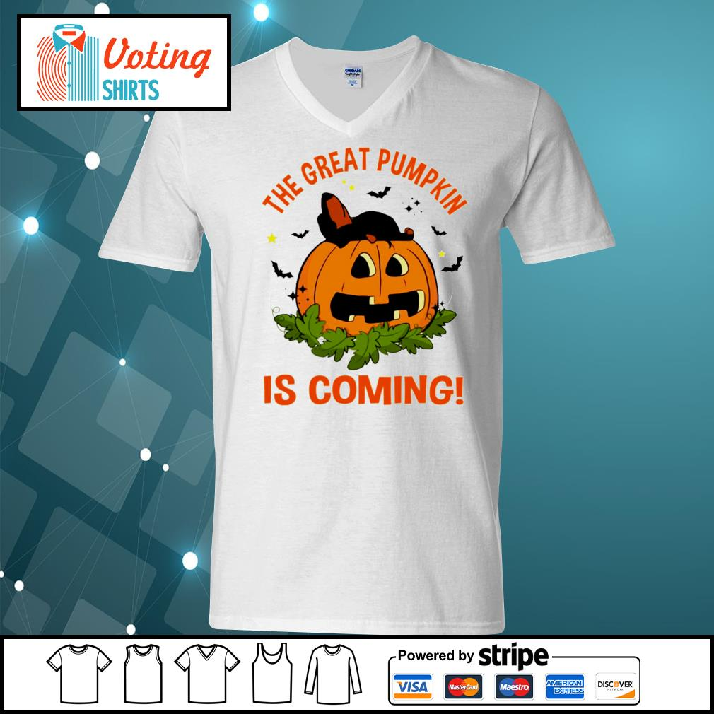 Dachshund the great pumpkin is coming s v-neck-t-shirt