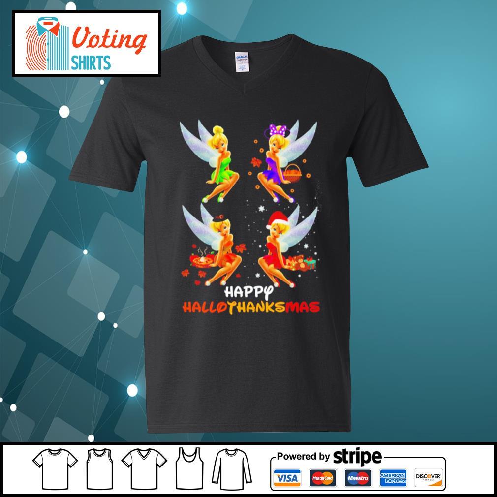 Disney Tinkerbell Happy HalloThanksMas s v-neck-t-shirt