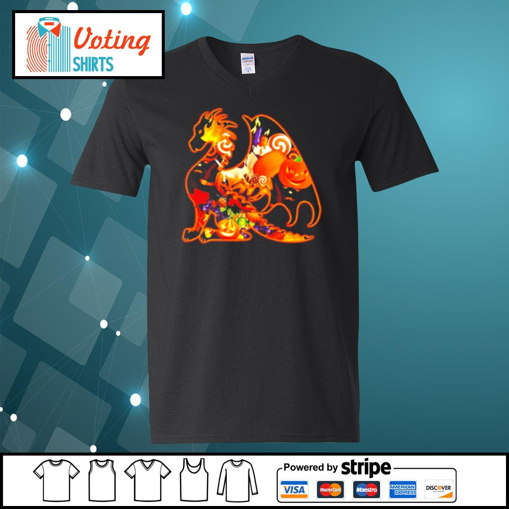 Dragon pumpkin Halloween s v-neck-t-shirt