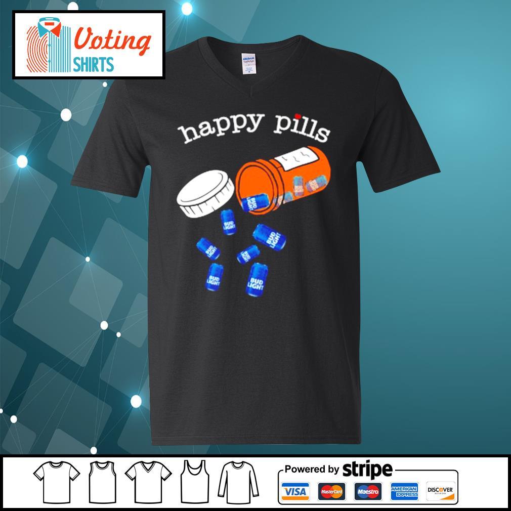 Drug Bud Light happy pills s v-neck-t-shirt