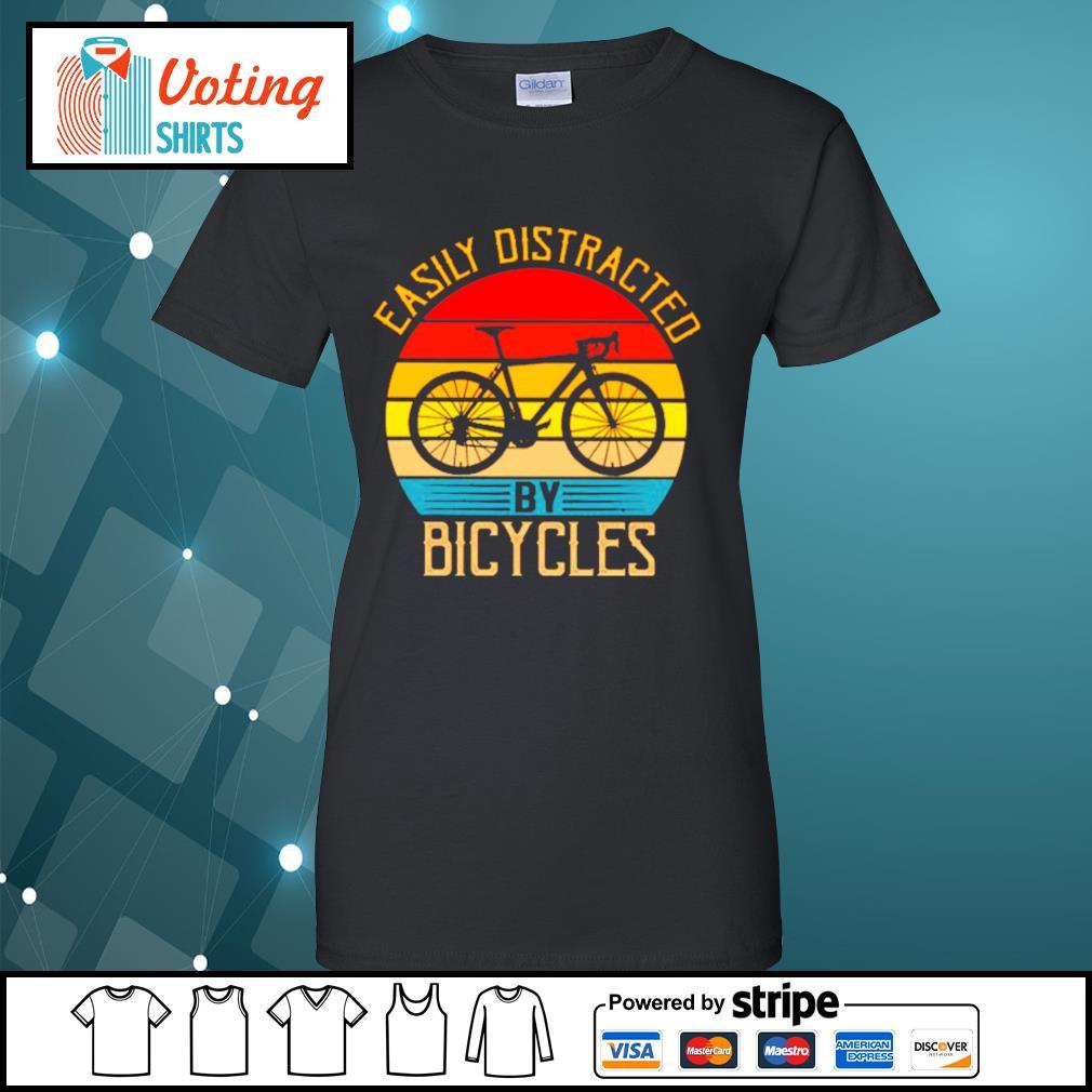 Easily distracted by bicycles vintage s ladies-tee
