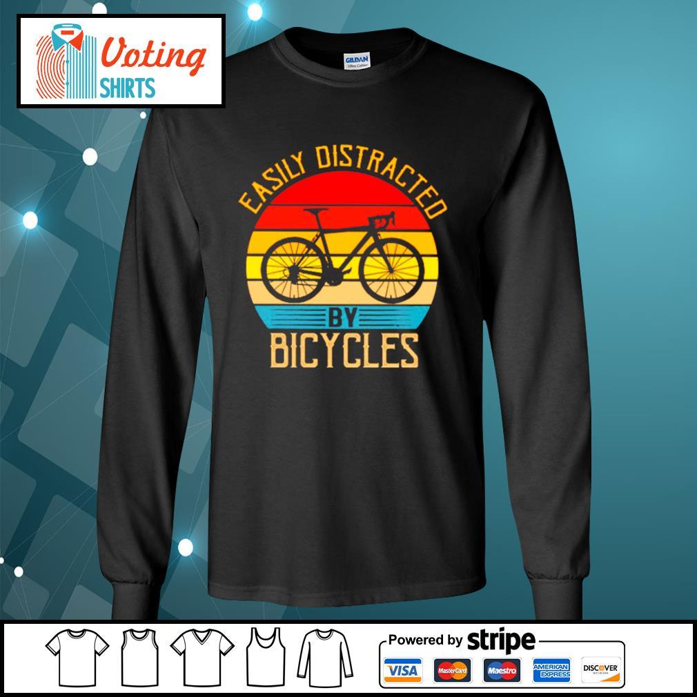 Easily distracted by bicycles vintage s longsleeve-tee