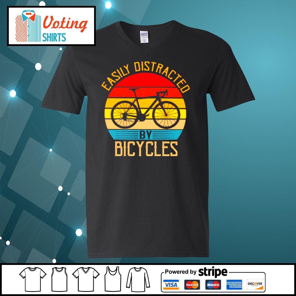 Easily distracted by bicycles vintage s v-neck-t-shirt