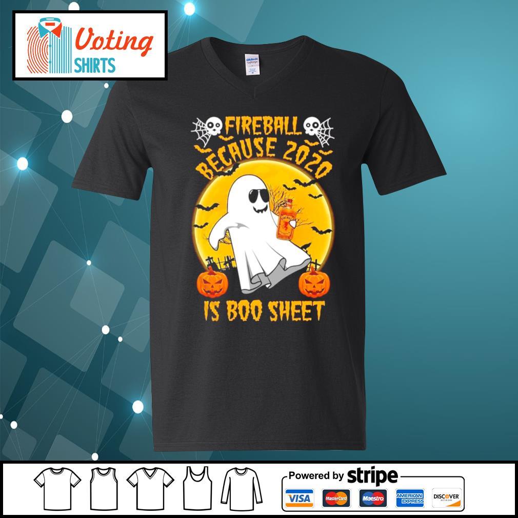 Fireball because 2020 is boo sheet Halloween s v-neck-t-shirt