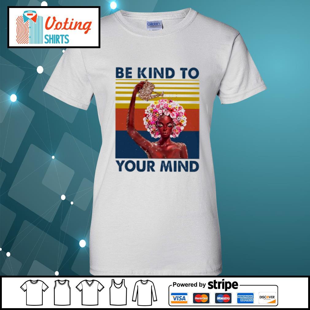 Flower girl be kind to your mind vintage s ladies-tee