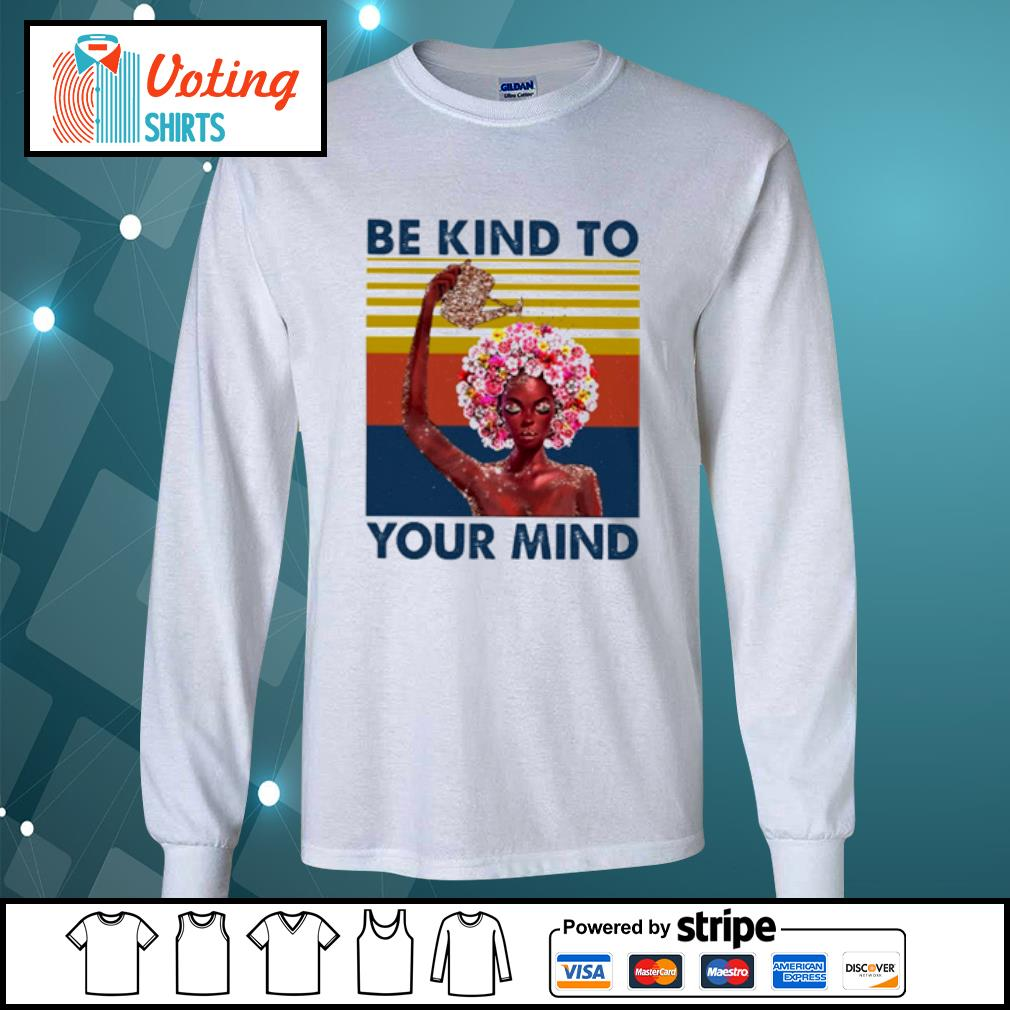 Flower girl be kind to your mind vintage s longsleeve-tee