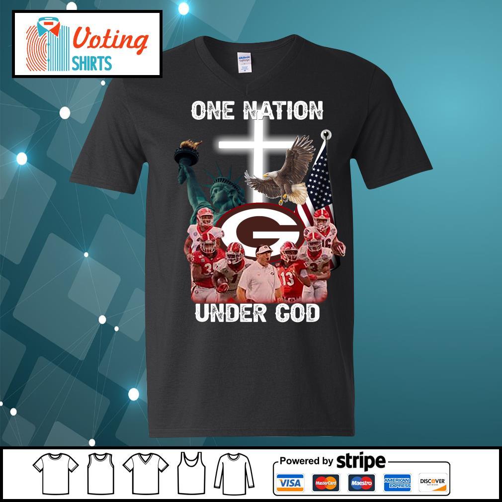 Georgia Bulldogs one nation under god s v-neck-t-shirt