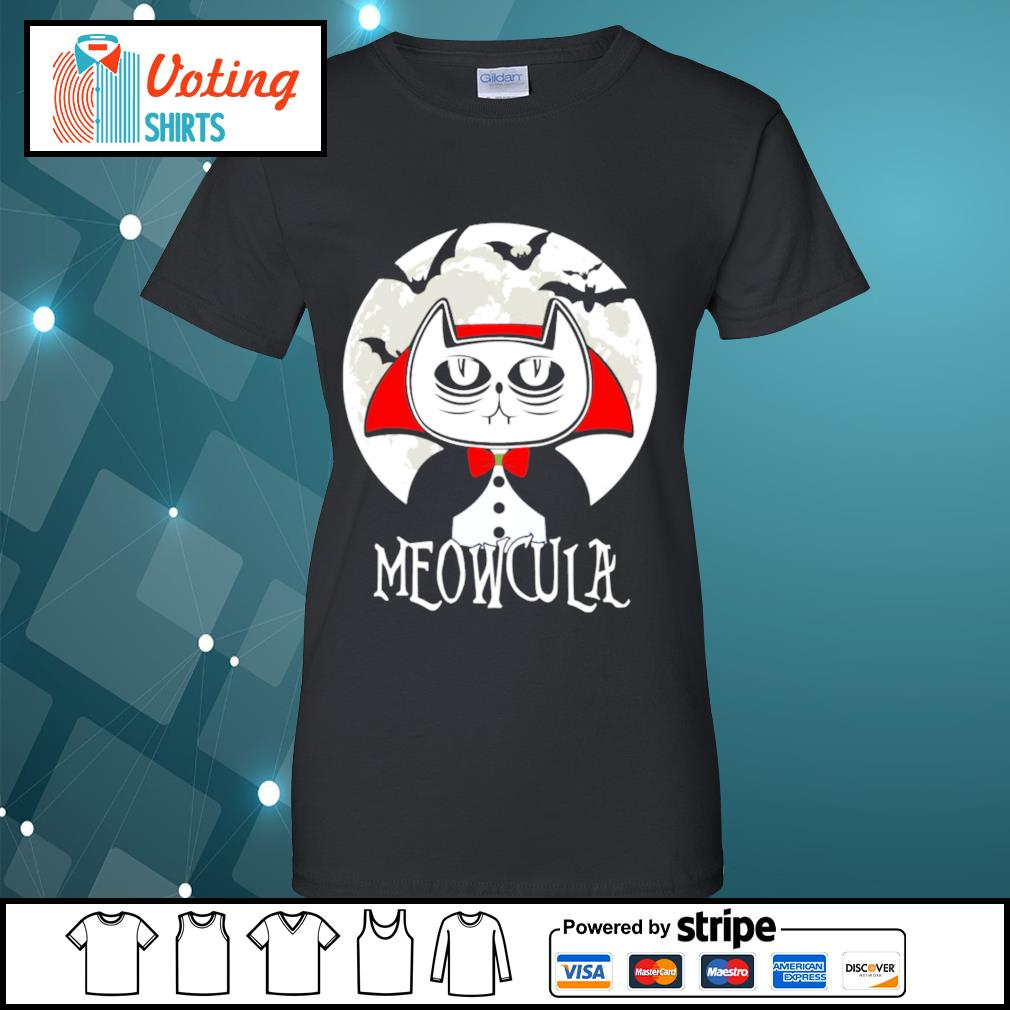 Halloween cat vampire dracula Meowcula s ladies-tee