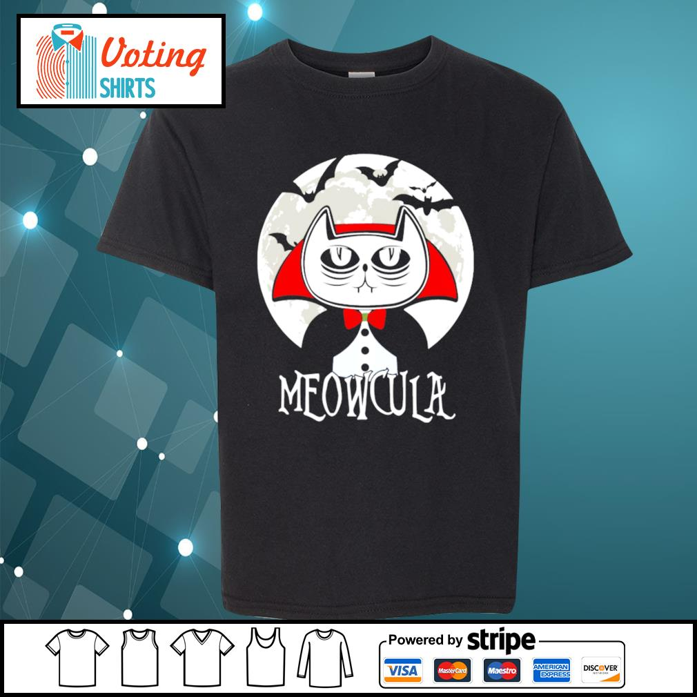 Halloween cat vampire dracula Meowcula s youth-tee
