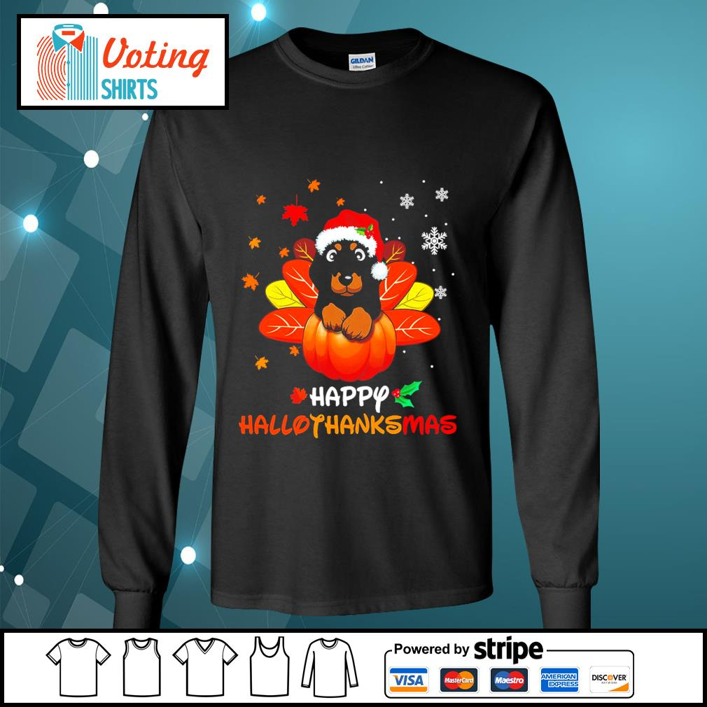 Halloween Dachshund Happy Hallothanksmas s longsleeve-tee