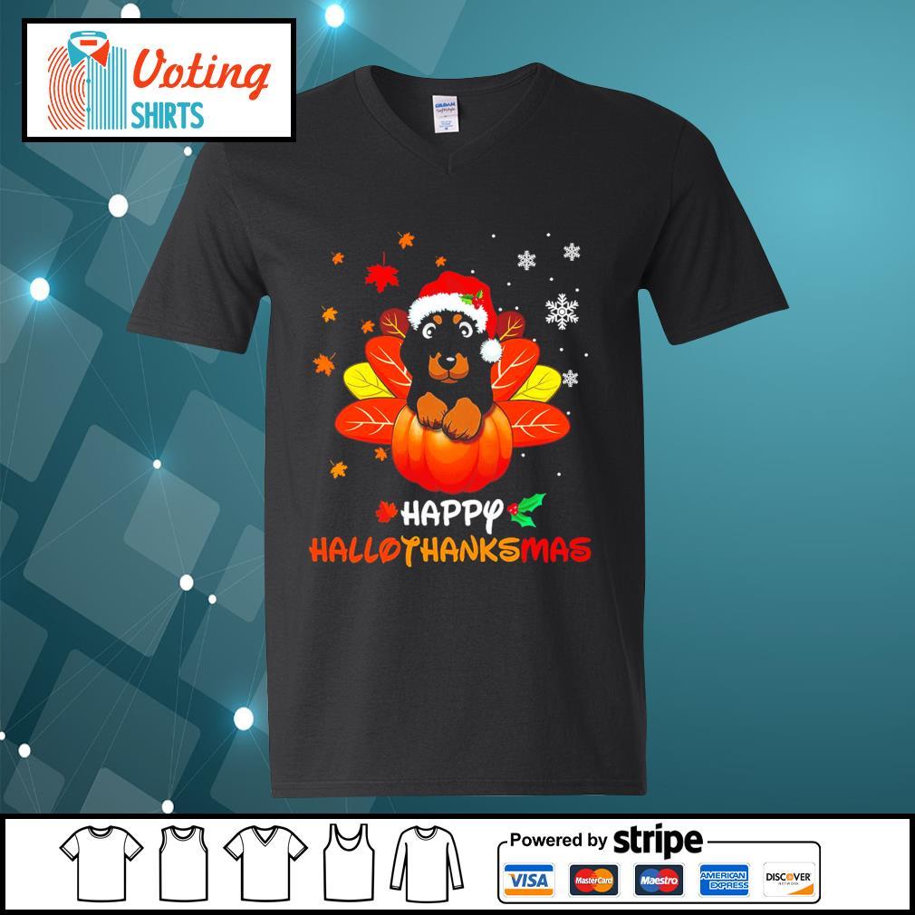 Halloween Dachshund Happy Hallothanksmas s v-neck-t-shirt
