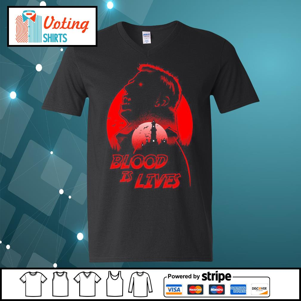 Halloween Dracula blood is lives s v-neck-t-shirt