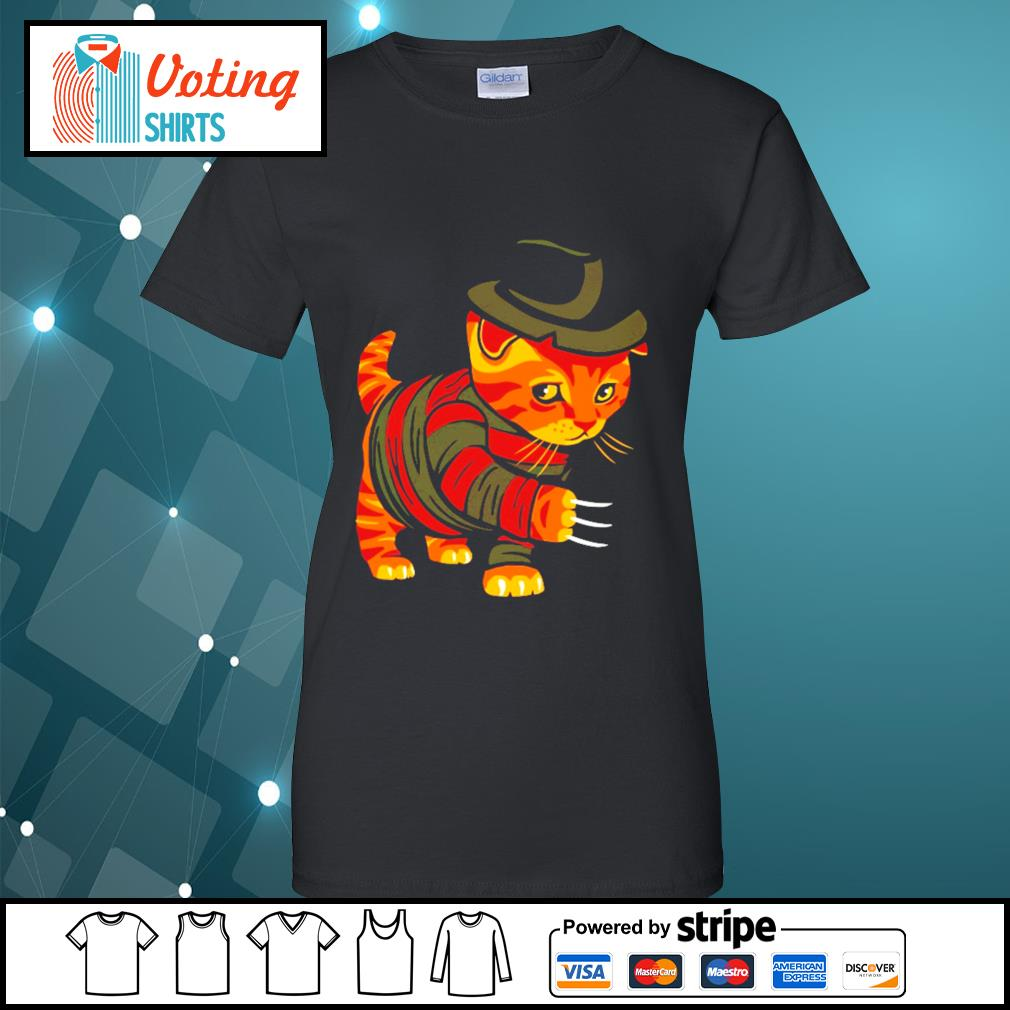 Halloween Freddy Krueger cat s ladies-tee