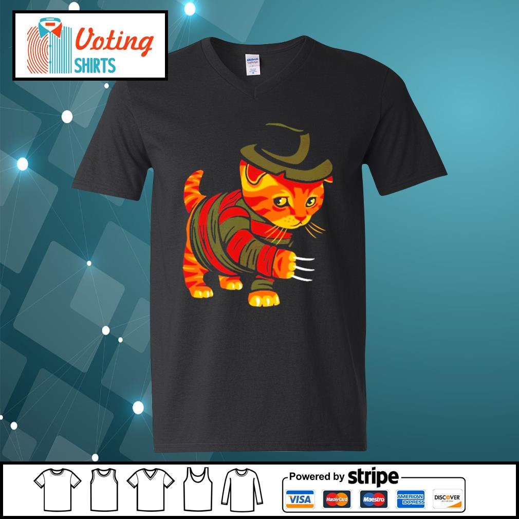 Halloween Freddy Krueger cat s v-neck-t-shirt