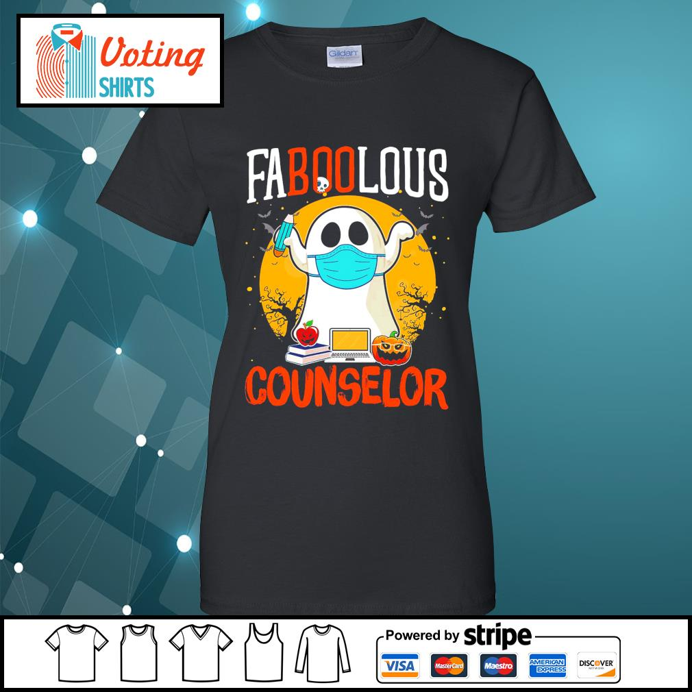 Halloween ghost face mask faboolous counselor s ladies-tee