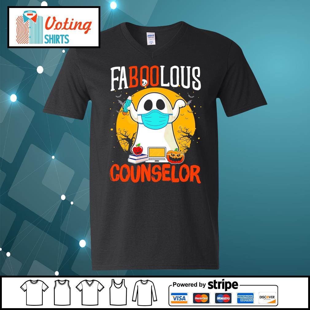 Halloween ghost face mask faboolous counselor s v-neck-t-shirt