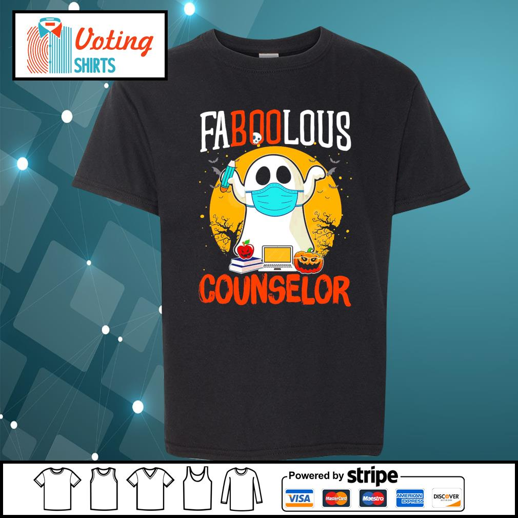 Halloween ghost face mask faboolous counselor s youth-tee