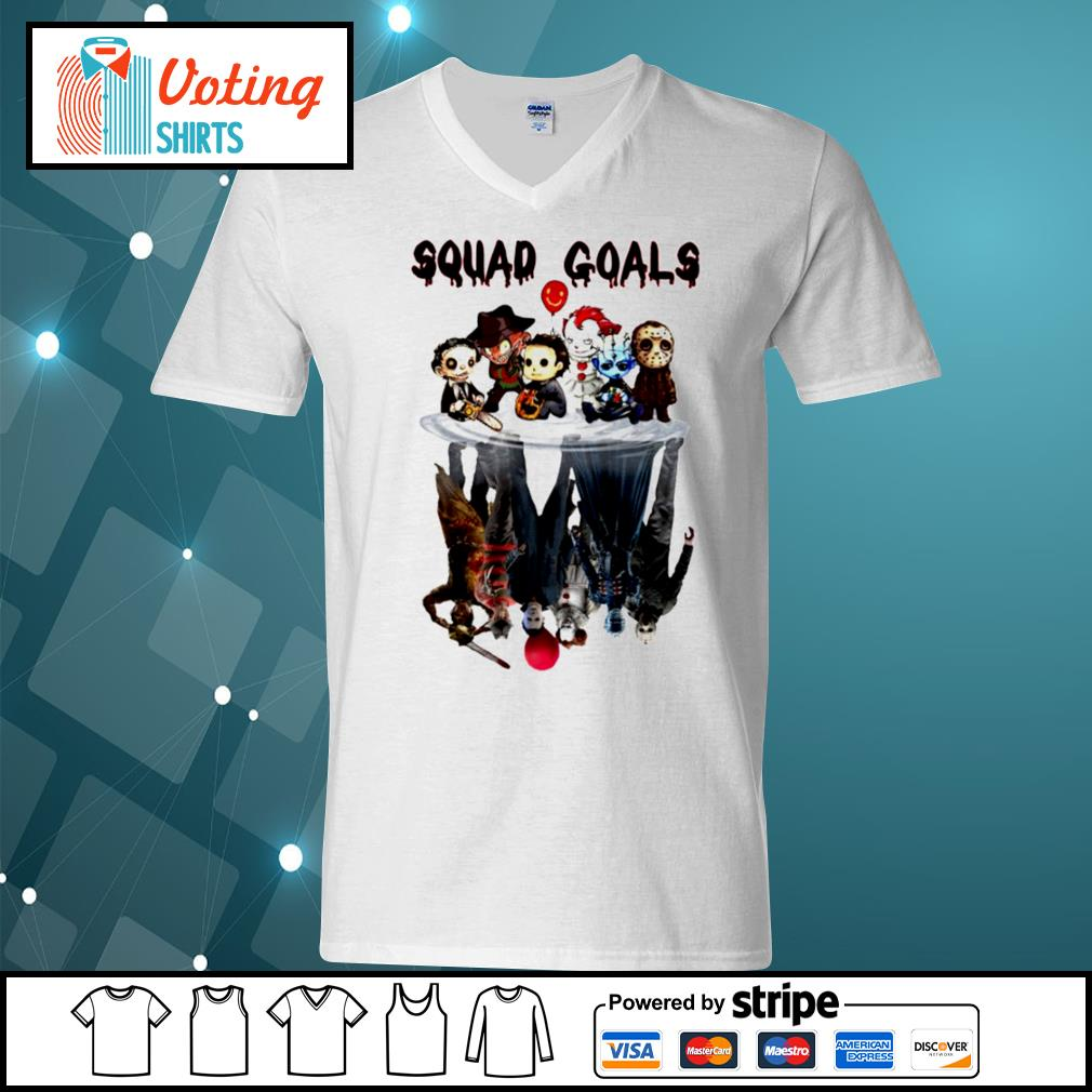 Halloween Horror IT characters chibi squad goals water reflection s v-neck-t-shirt
