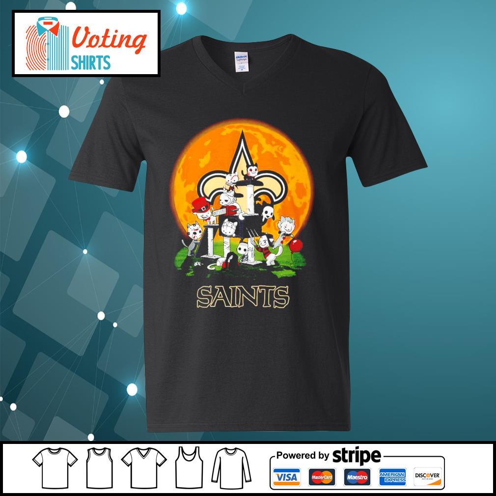 Halloween nights Horror characters chibi Saints s v-neck-t-shirt