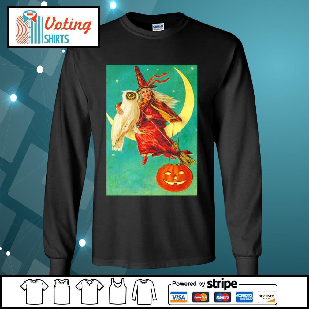 Halloween owl witch pumpkin moon s longsleeve-tee