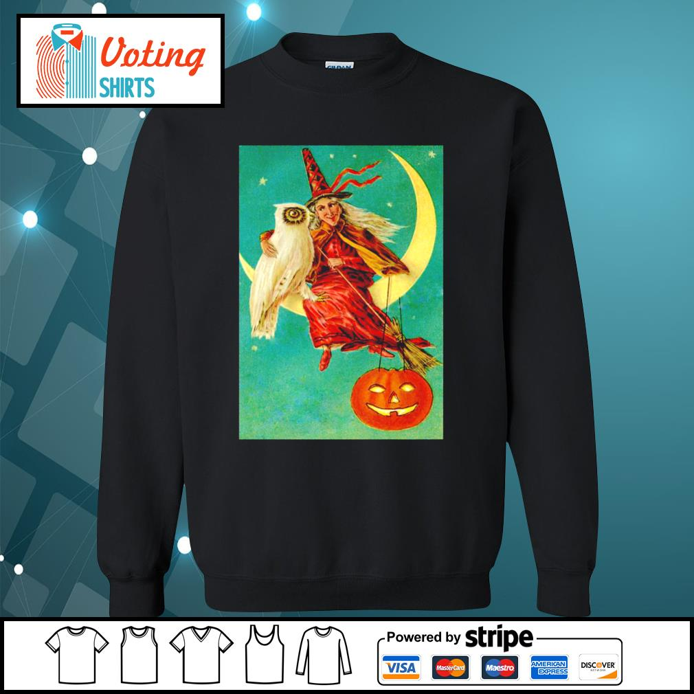 Halloween owl witch pumpkin moon s sweater