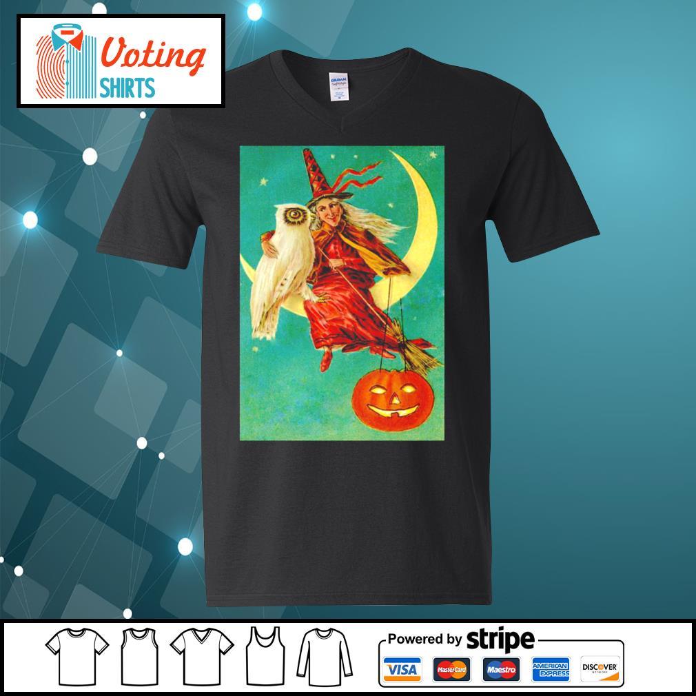 Halloween owl witch pumpkin moon s v-neck-t-shirt