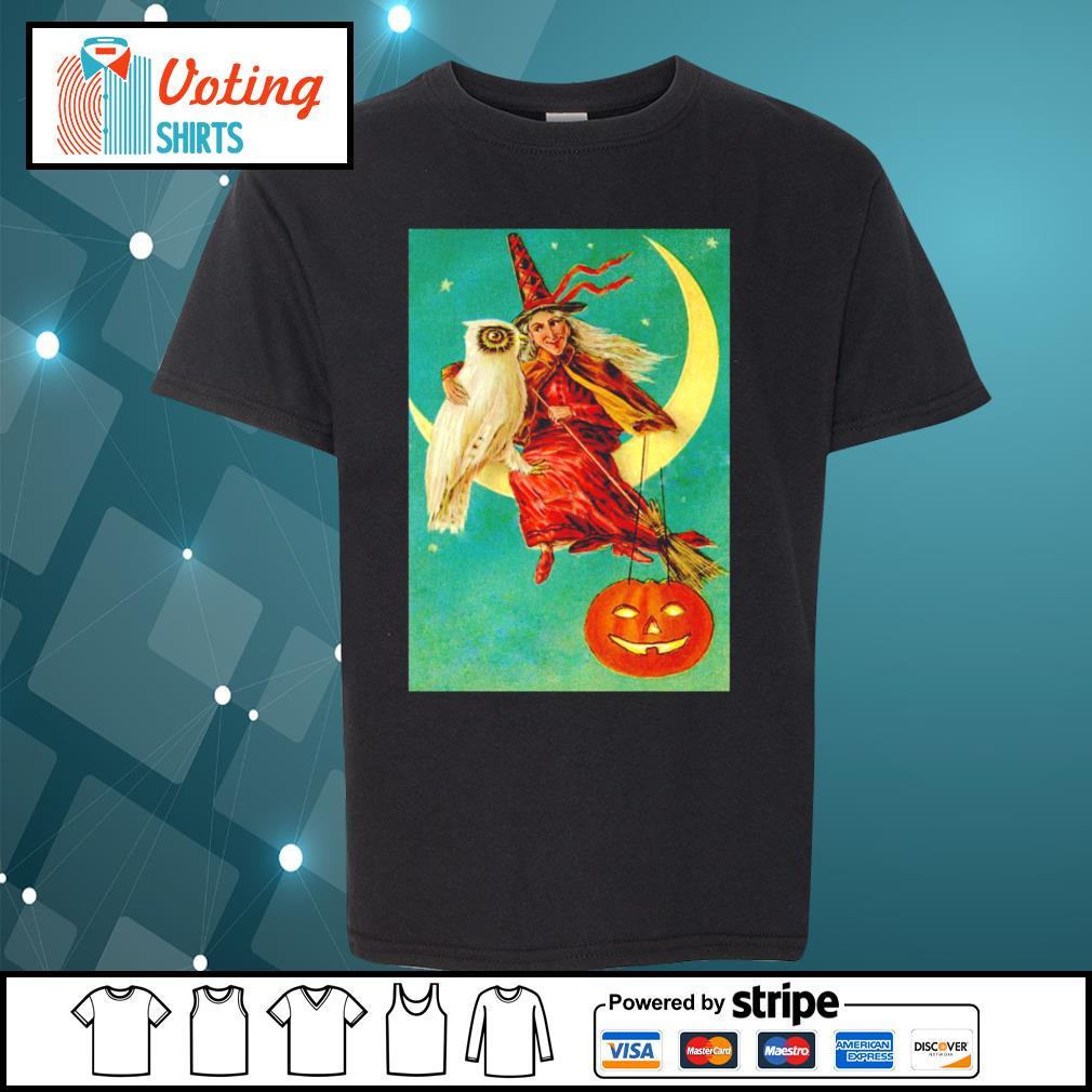Halloween owl witch pumpkin moon s youth-tee