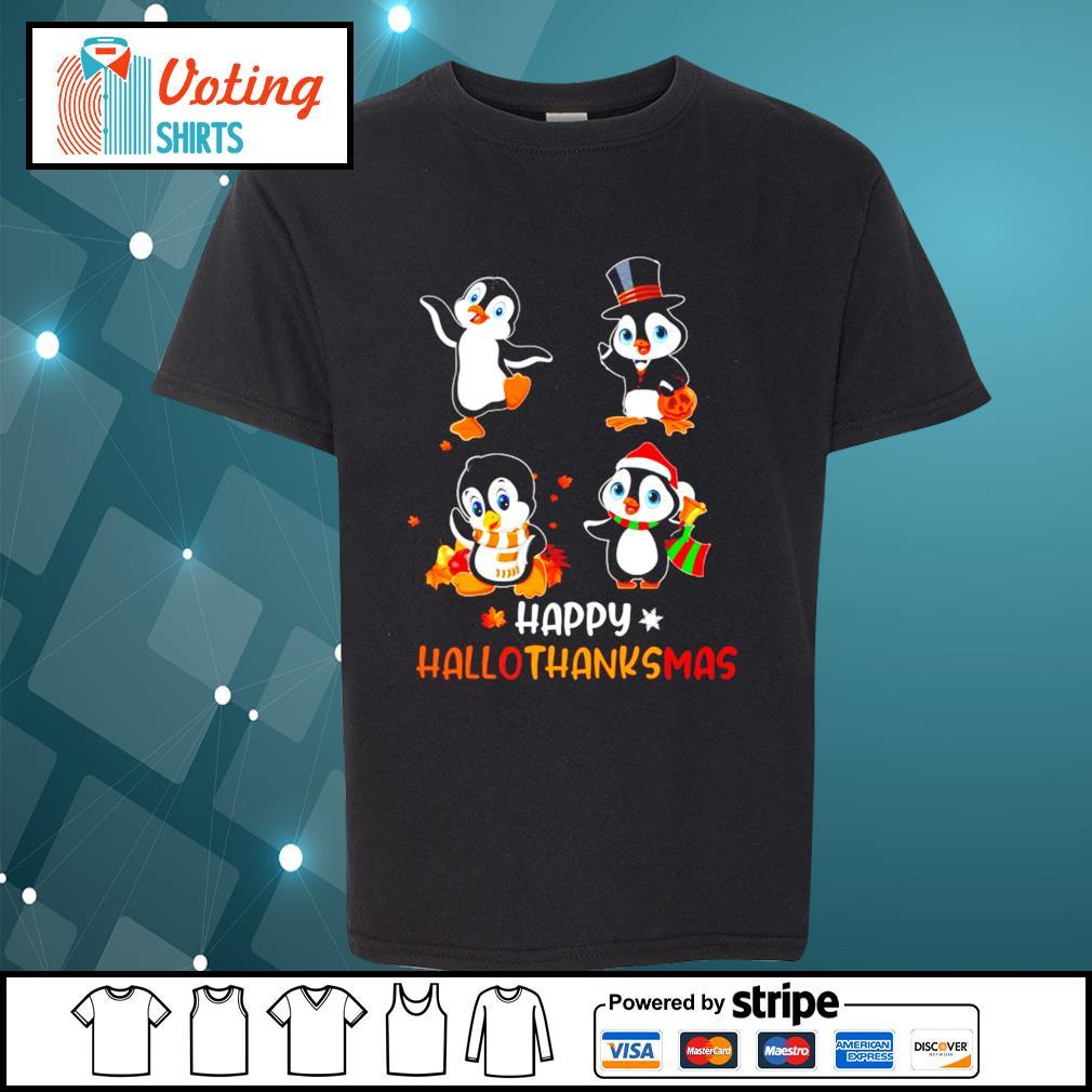 Halloween penguins Happy Hallothanksmas s youth-tee