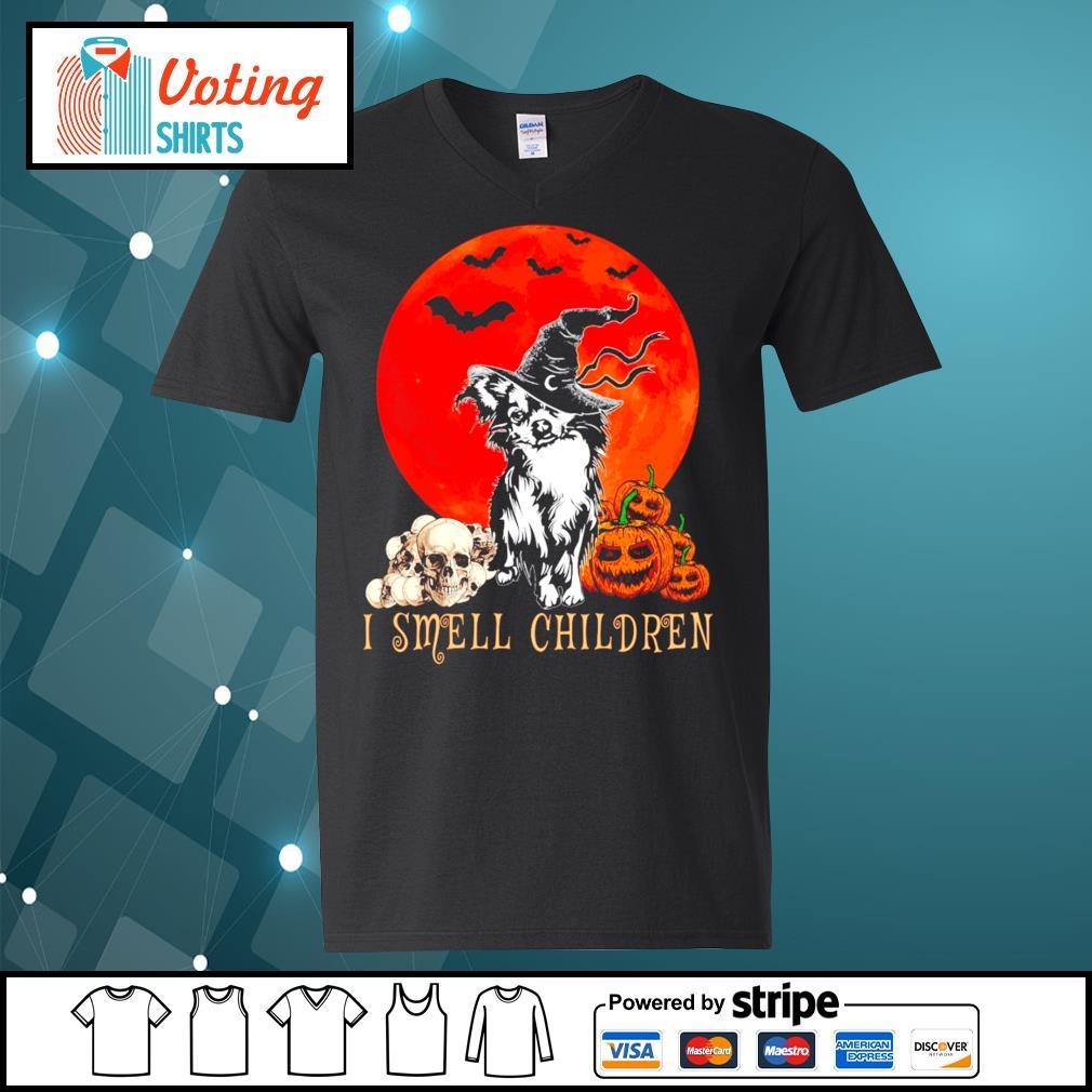 Halloween pumpkin Shih Tzu I smell children s v-neck-t-shirt