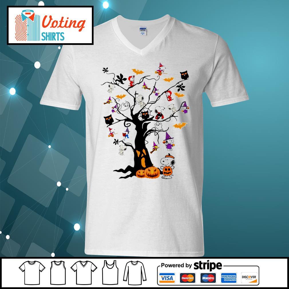 Halloween Snoopy pumpkin tree s v-neck-t-shirt