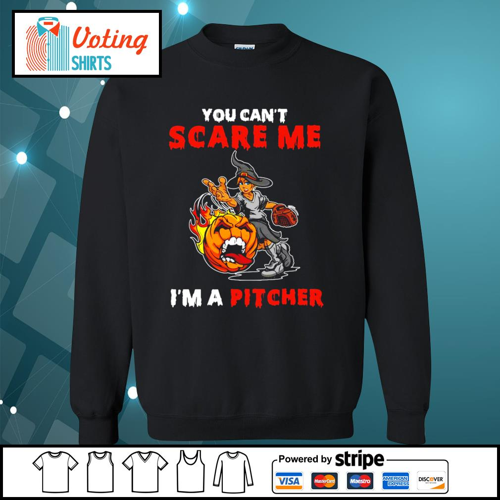 Halloween you can_t scare me I_m a Pitcher s sweater
